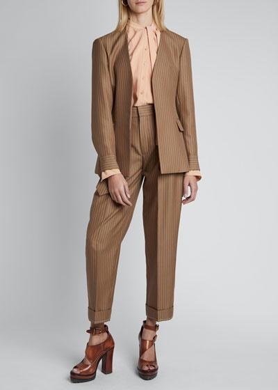 Pinstripe Wool Long-Sleeve V-neck Single-Breasted Blazer Jacket