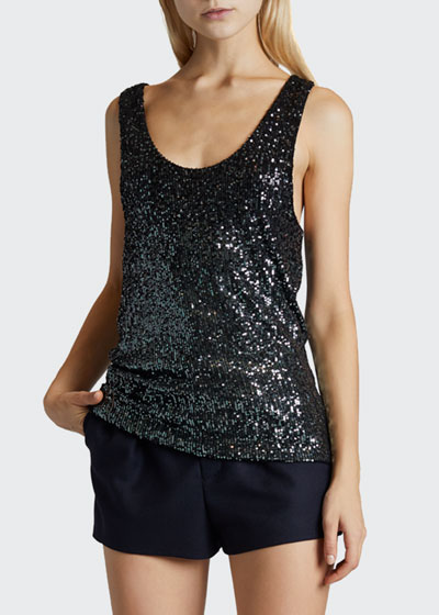 Degrade Sequined Scoop-Neck Tank