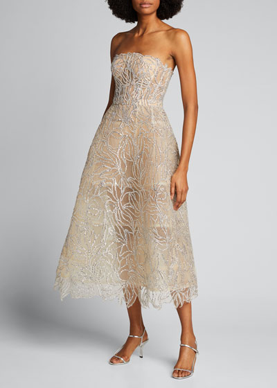 Strapless Beaded Embroidered A-Line Dress
