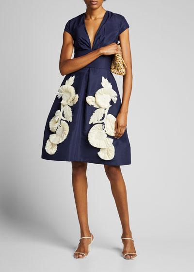 Silk Embroidered Cap-Sleeve Dress