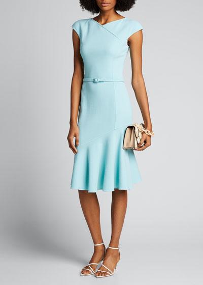 Cap-Sleeve Belted Midi Dress w/ Flutter-Hem