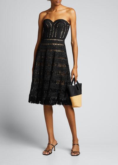 Strapless Raffia Dress