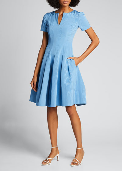 Taffeta V-Neck Cocktail Dress