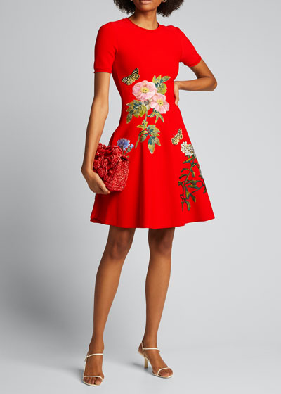 Floral Applique Knit Fit-and-Flare Short-Sleeve Dress