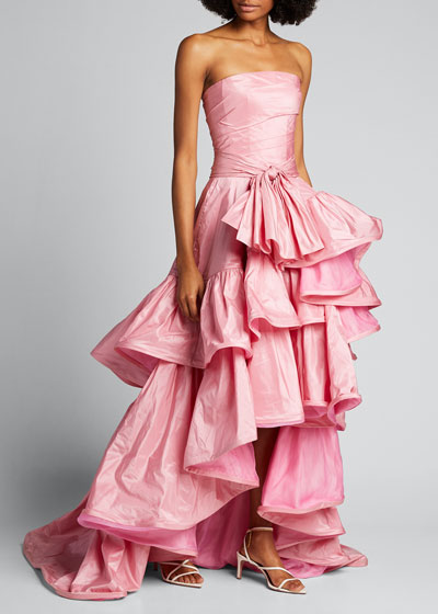 Strapless Tiered High-Low Gown