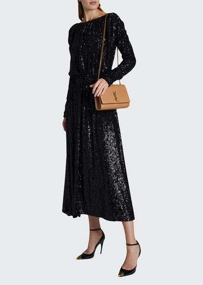 Sequin Boat-Neck Long-Sleeve Maxi Dress