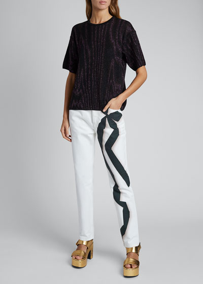 Jennifer Metallic Short-Sleeve Crewneck Sweater
