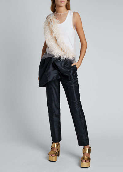 Sheer Sleeveless Shirt with Feather Detail