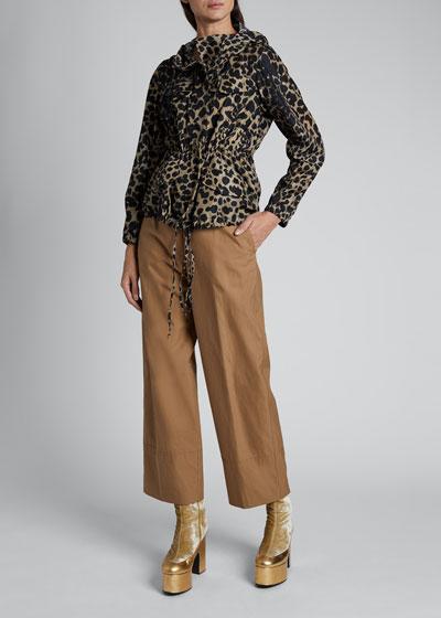 Valera Leopard Nylon Short Tie-Waist Jacket
