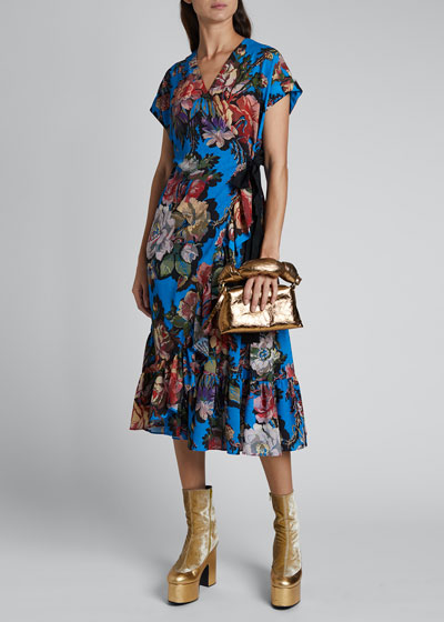 Delft Floral-Print Wrap Dress