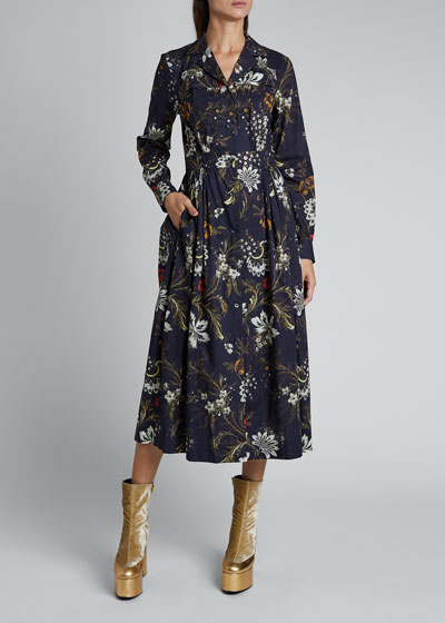 Dolia Cotton Floral Fan Long-Sleeve Button Pleat Dress