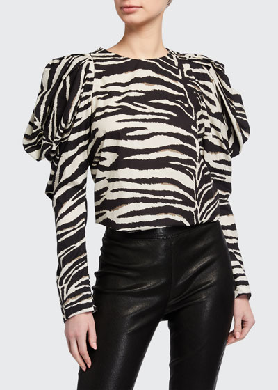 Zebra-Striped Puff-Sleeve Top