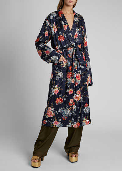 Charly Floral Tie-Front Robe Coat