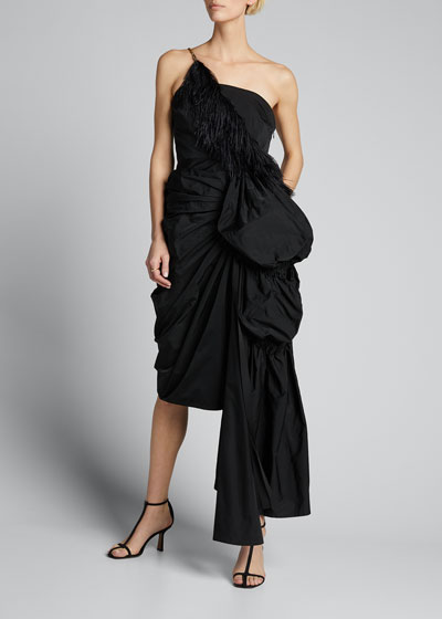 Ruched Feather-Trim Cocktail Dress