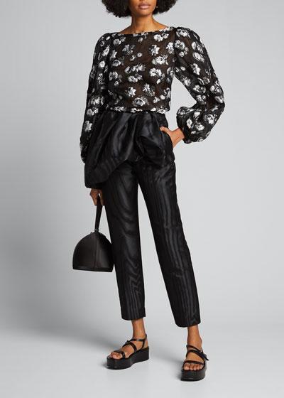 Moire Ruched Peplum-Waist Crop Pants