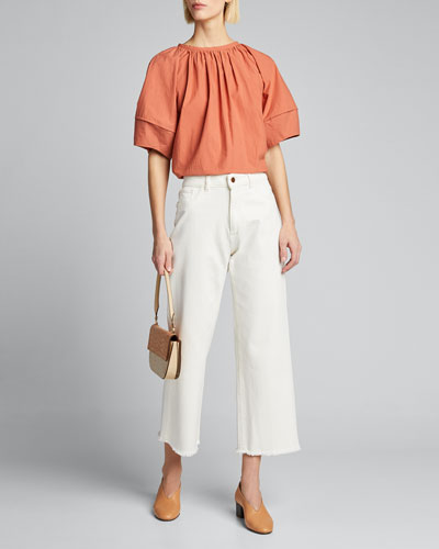 Margot Lantern-Sleeve Blouse