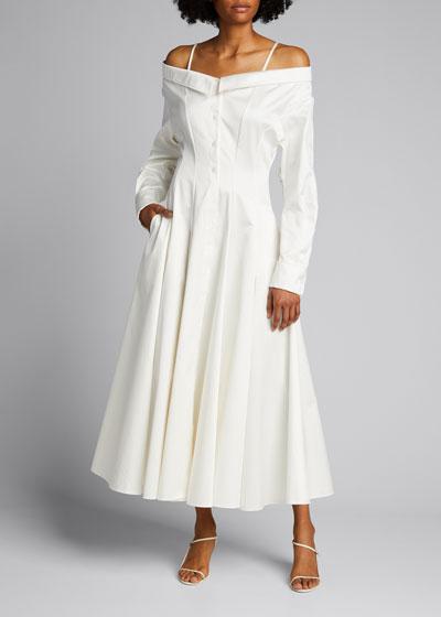 Off-the-Shoulder Tea-Length Shirtdress