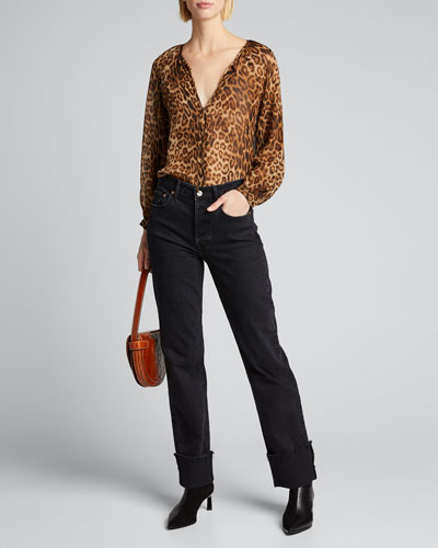 Rosette Animal Silk Chiffon Top