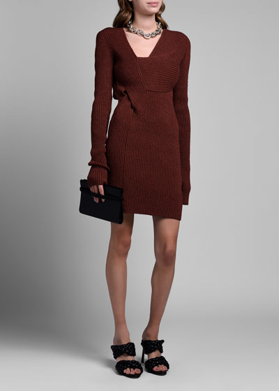 Long-Sleeve Silk Ribbed Sweaterdress