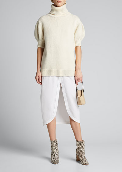 Puff-Sleeve Sweater In Marled Knit