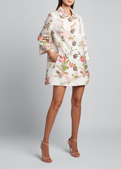 3/4-Sleeve Floral Swing Coat