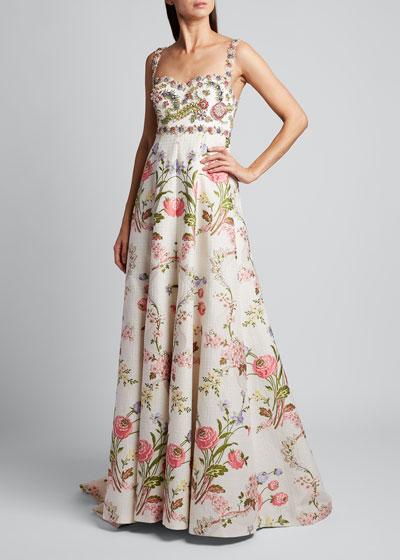 Spaghetti Strap Floral Gown