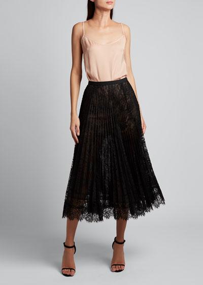 Pleated Vintage Lace Skirt