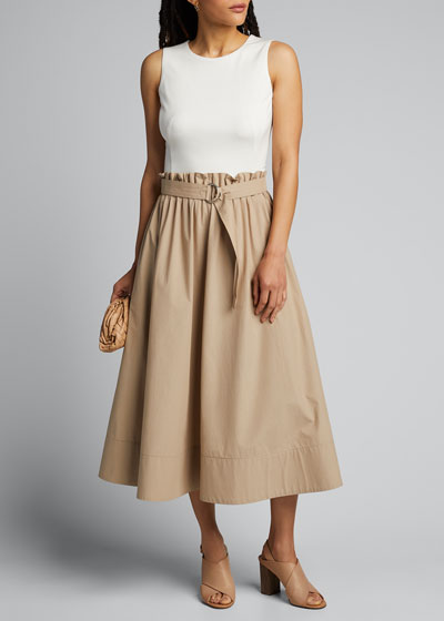 Two-Tone Cotton Paperbag-Waist Dress