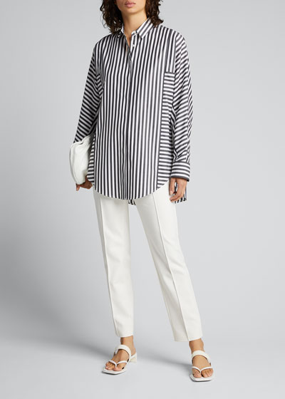 Stripe-Blocked Poplin Tunic