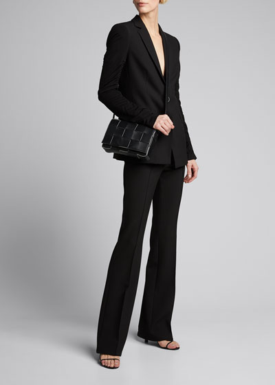Gathered-Sleeve Pebble Stretch Crepe One-Button Blazer
