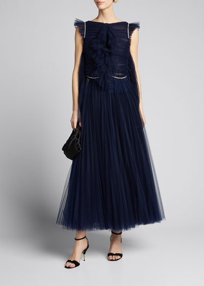 Paige French Tulle Tea-Length Dress