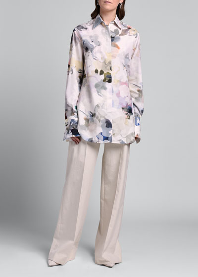 Watercolor Floral Print Shirt