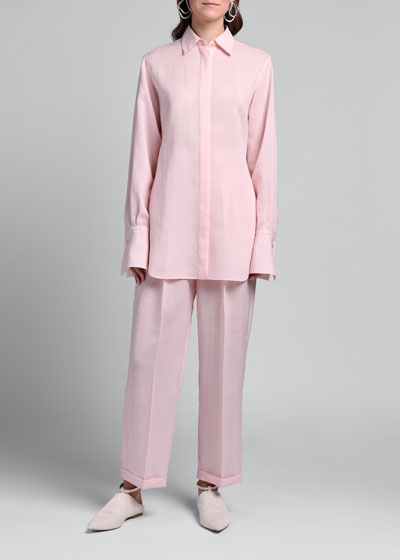 Mohair-Silk Button-Front Tunic