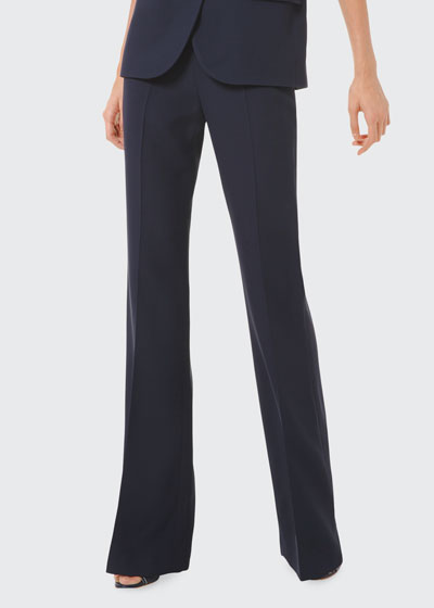 Side Zip Crepe Flare Pants