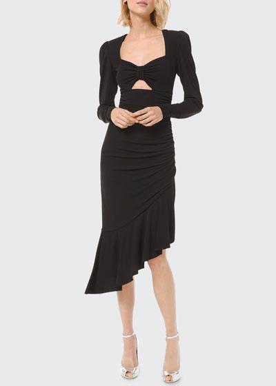 Ruched Jersey Long-Sleeve Asymmetric Dress w/ Keyhole