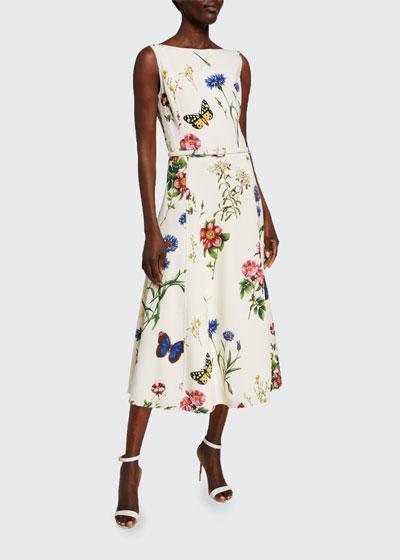 Bateau-Neck Midi Fit & Flare Dress