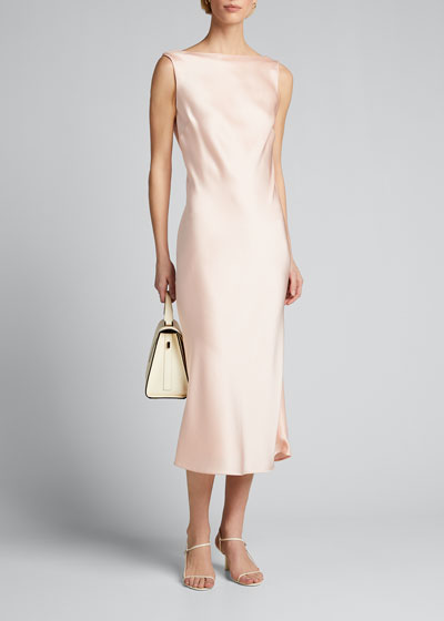 Crepe Back Satin Boat-Neck Cocktail Dress
