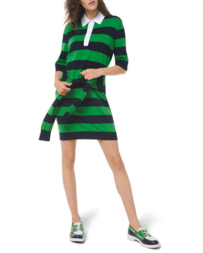 Striped Tie-Waist Knit Polo Dress