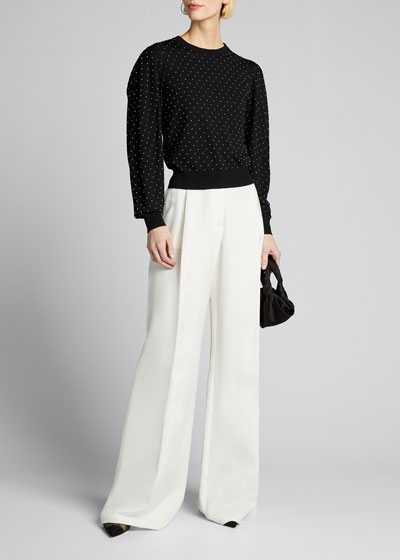 Studded Pleated-Sleeve Wool Sweater