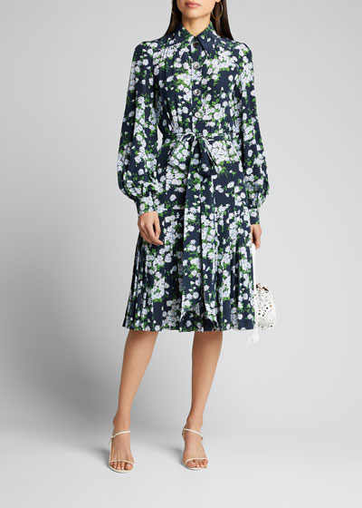 Floral-Print Pleated Silk Shirtdress