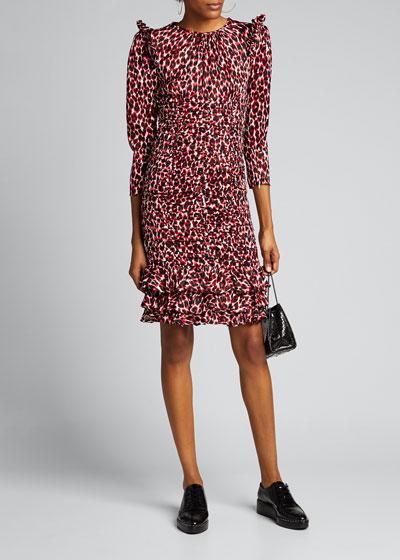 Small Animal-Print 3/4-Sleeve Mini Ruffle-Trim Dress