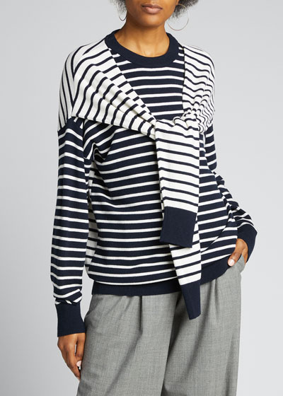 Cashmere Striped Wrapped Sweater