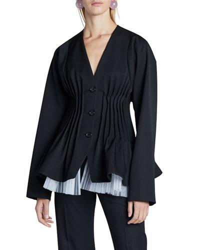 Silk Pleated-Waist Jacket