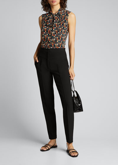 Neck-Bow Wood-Dot Printed Silk Blouse