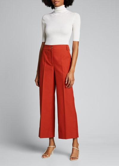 Chiara Mercerized Cotton Culotte Pants