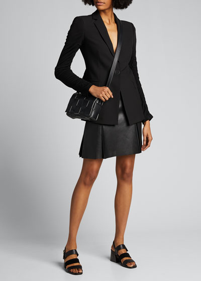 Perforated Leather-Front Pleated Skirt