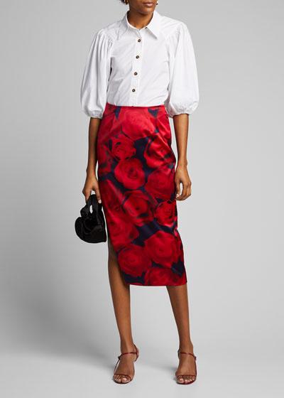 Floral Print Silk Pencil Skirt