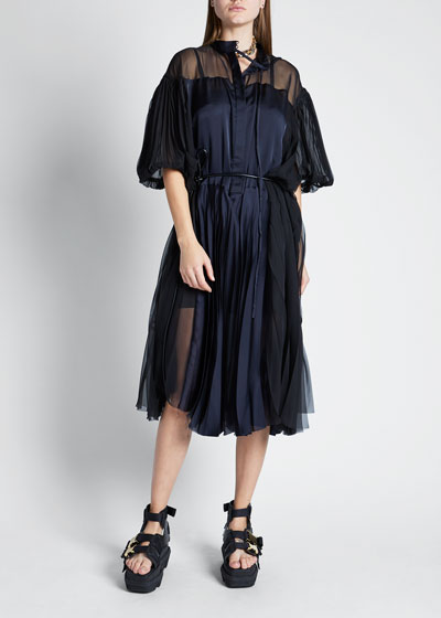 Short-Sleeve Chiffon Satin Combo Dress