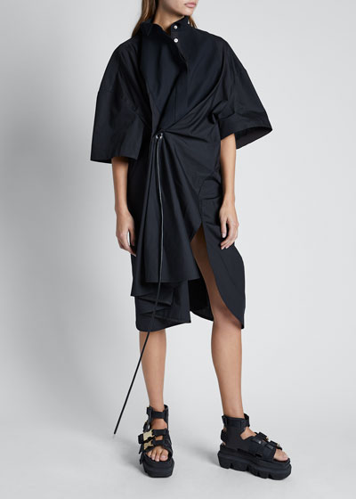Short-Sleeve Waistband Ruched-Front Dress