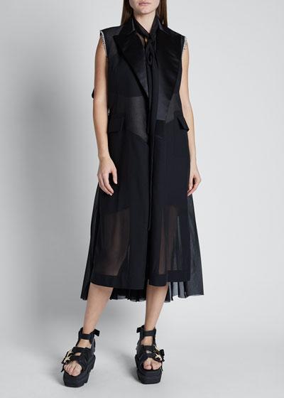 Satin Lapel Chiffon Dress